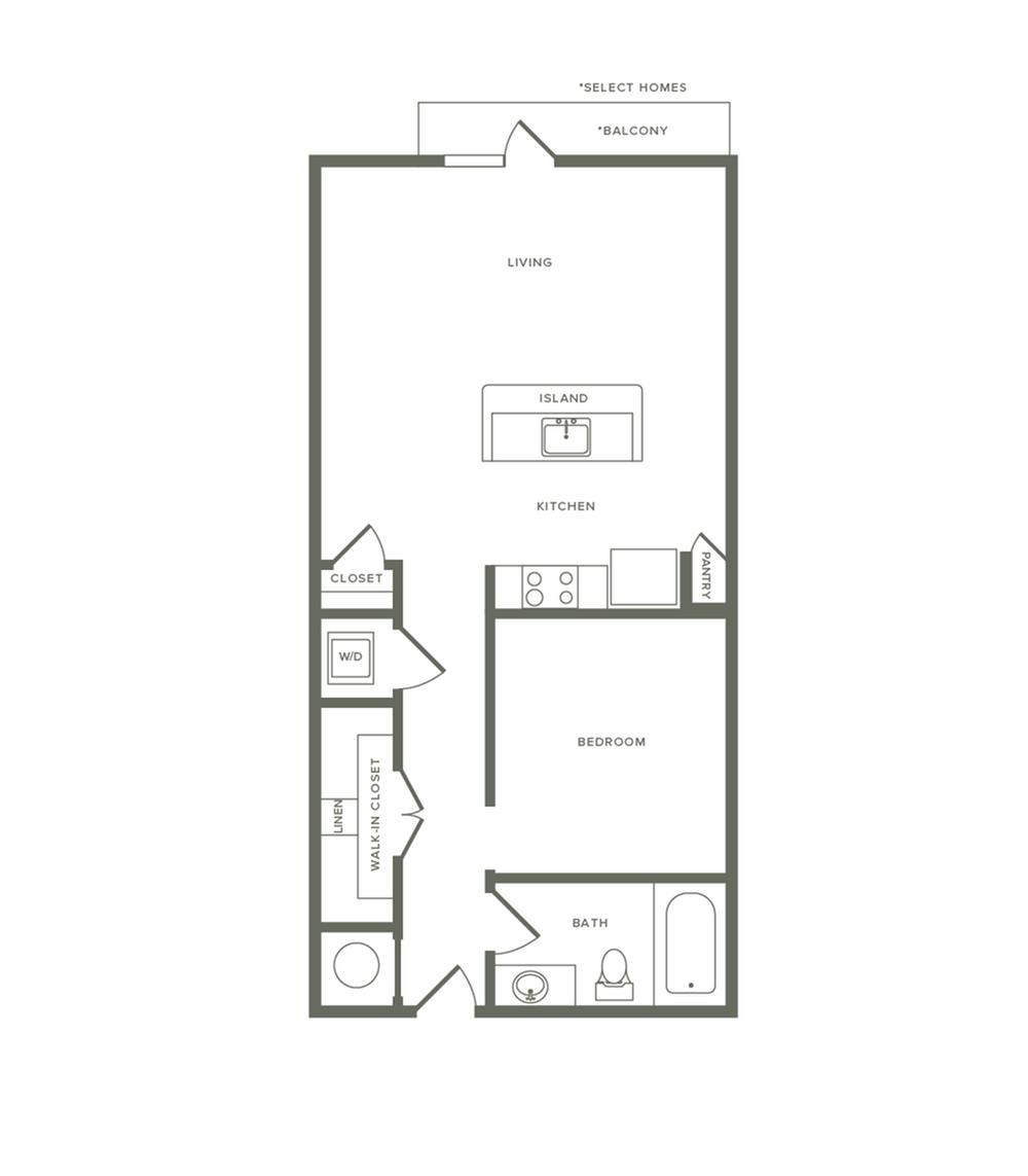 727 square foot one bedroom one bath apartment floorplan image