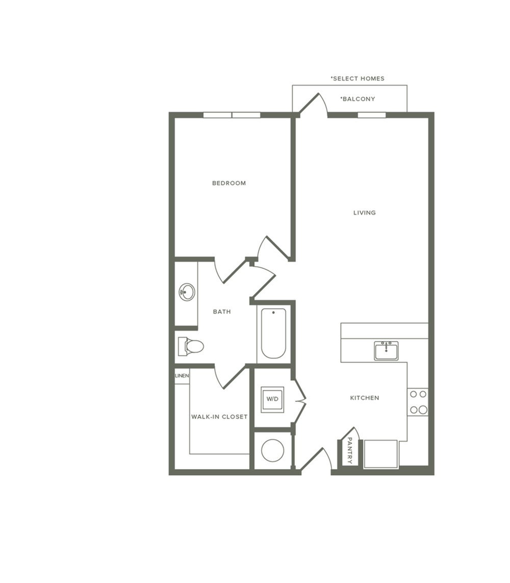 737 square foot one bedroom one bath apartment floorplan image