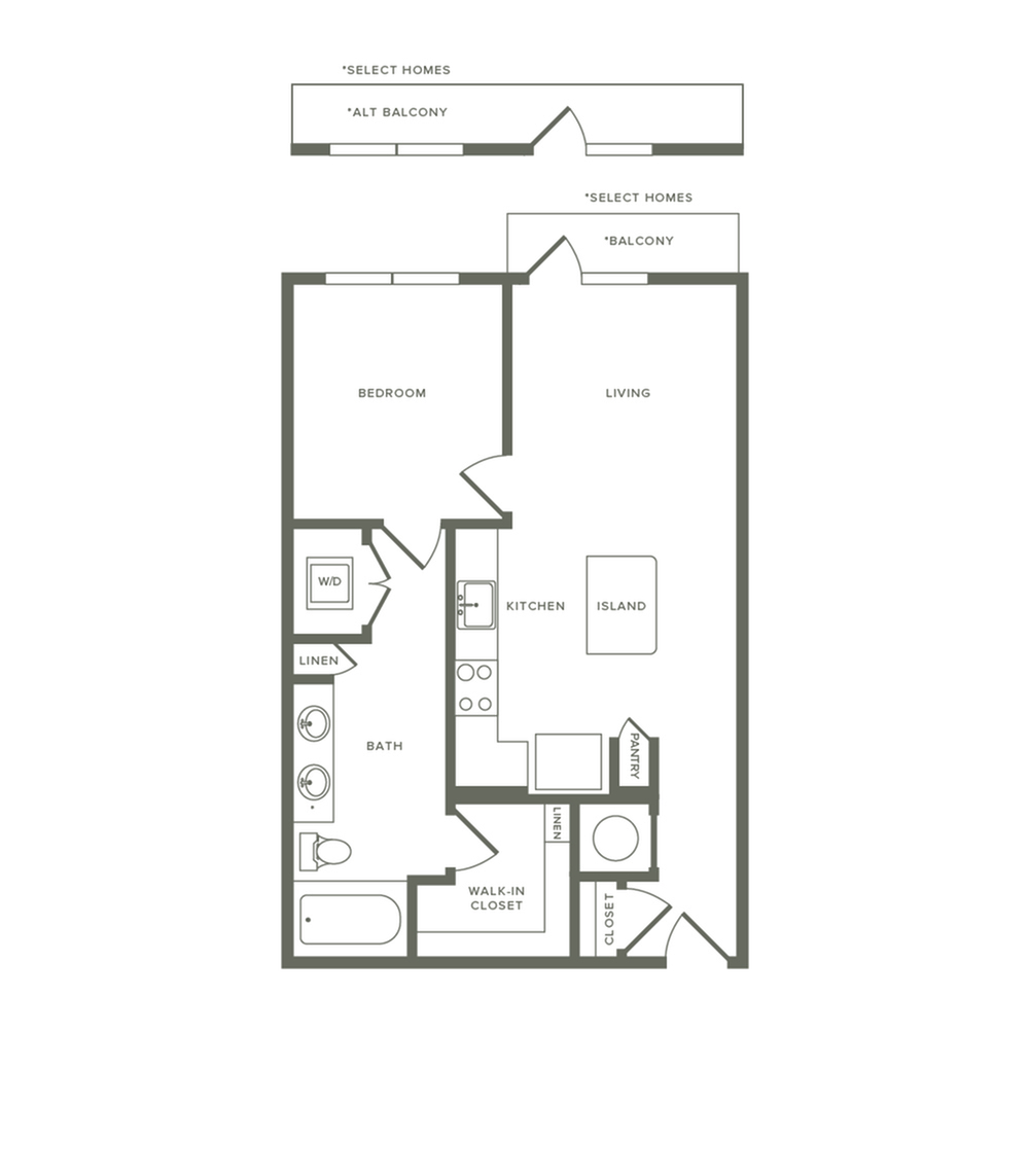 726 to 759 square foot one bedroom one bath apartment floorplan image