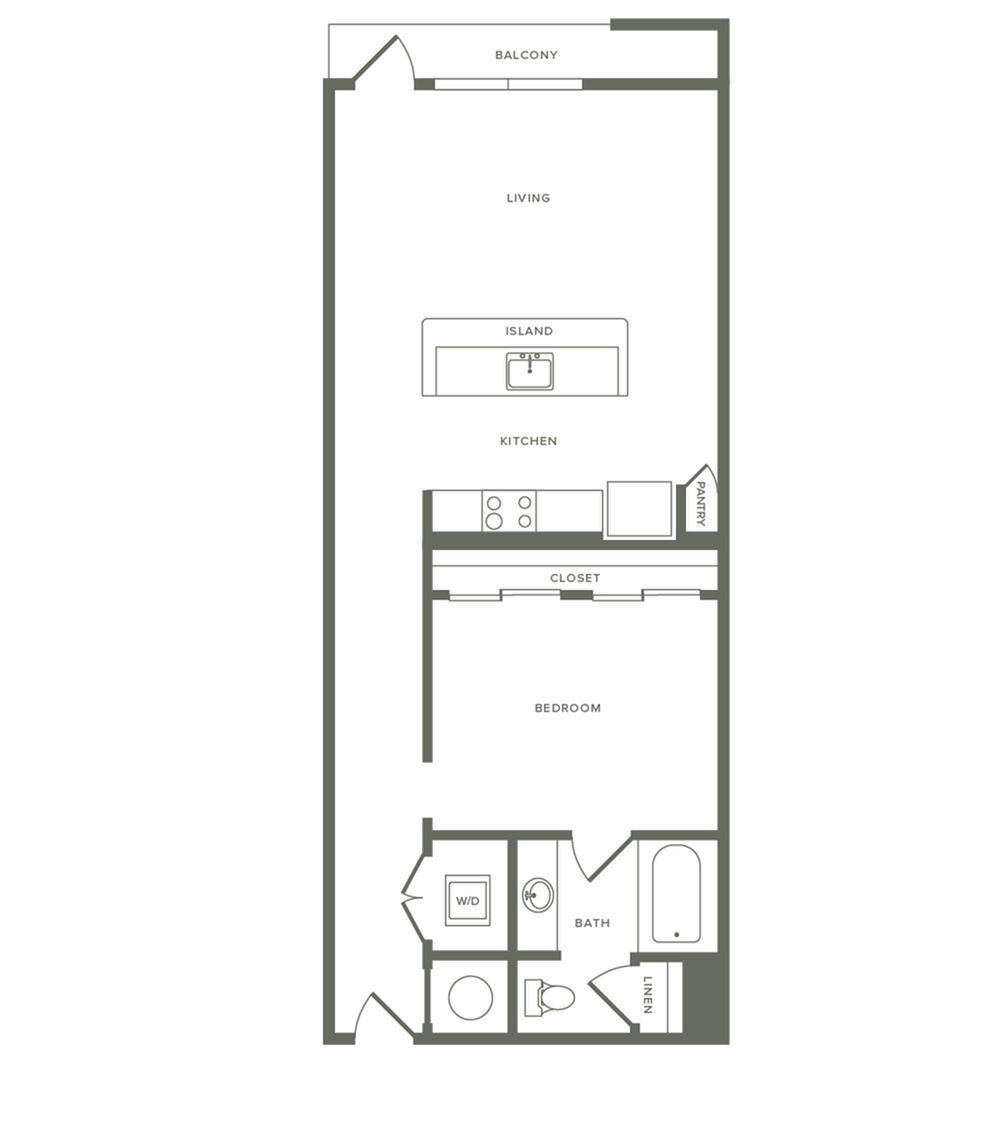 774 square foot one bedroom one bath apartment floorplan image