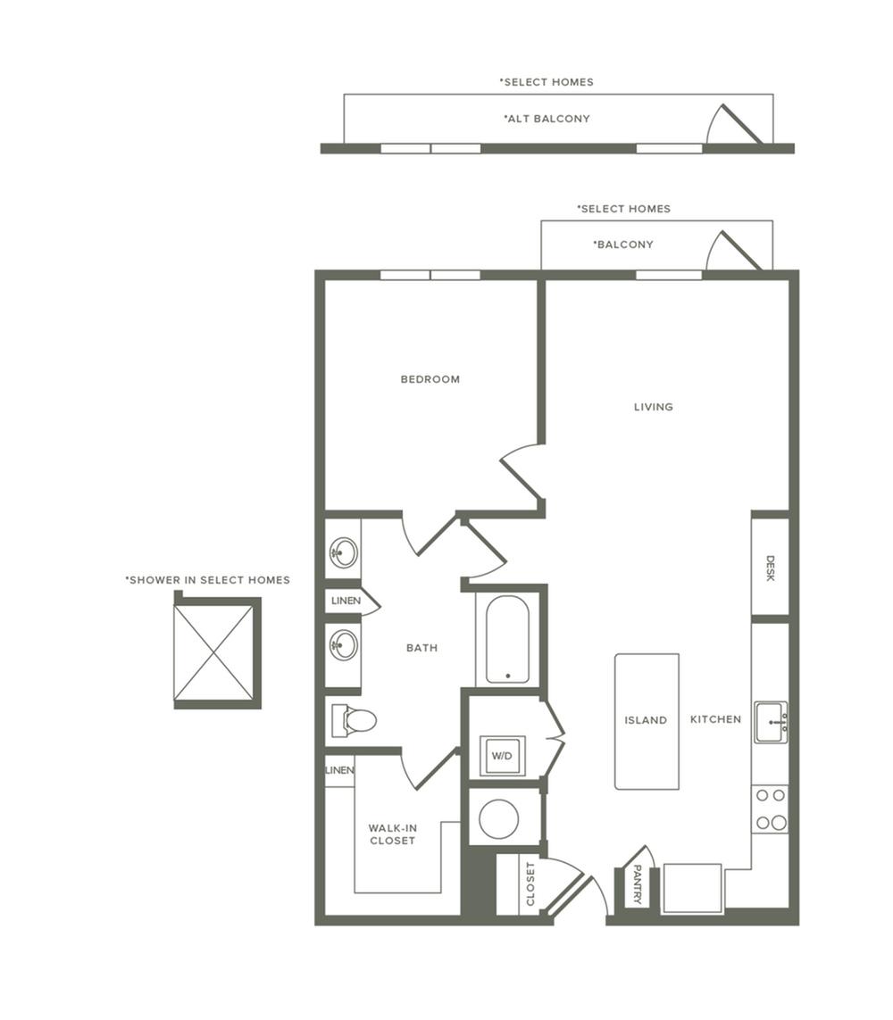 850 square foot one bedroom one bath apartment floorplan image