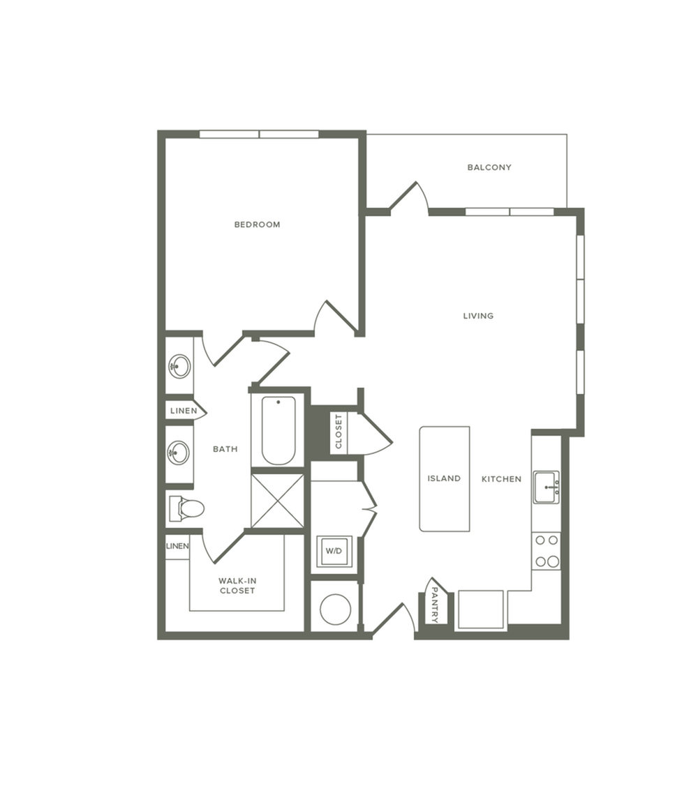 879 square foot one bedroom one bath apartment floorplan image