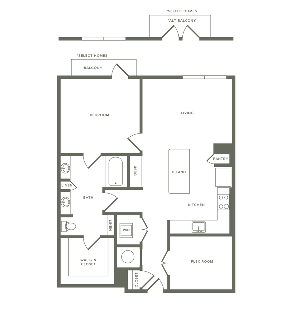 942 square foot one bedroom one bath with den apartment floorplan image