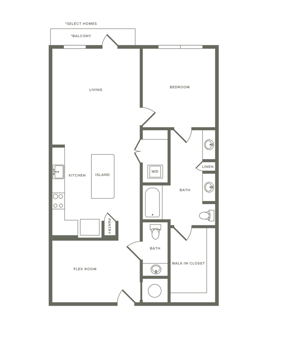 956 square foot one bedroom one bath with den apartment floorplan image