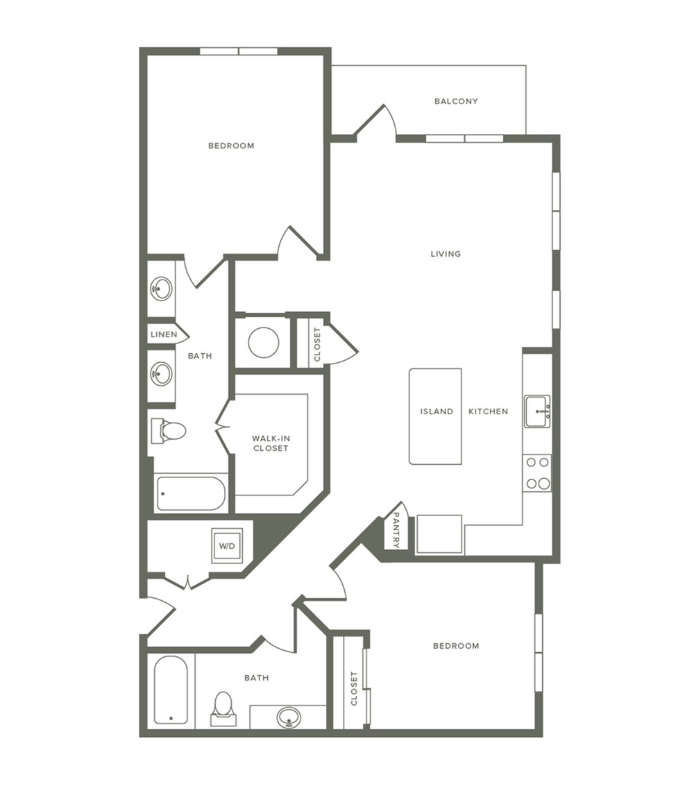 1152 square foot two bedroom two bath apartment floorplan image