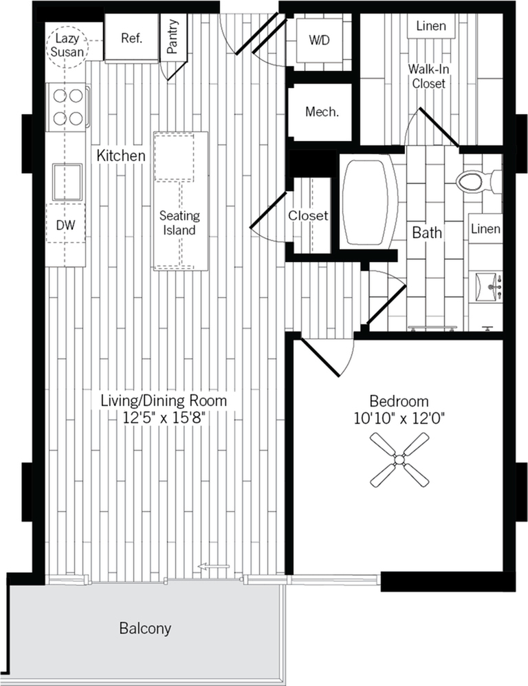 755 square foot one bedroom one bath apartment floorplan image
