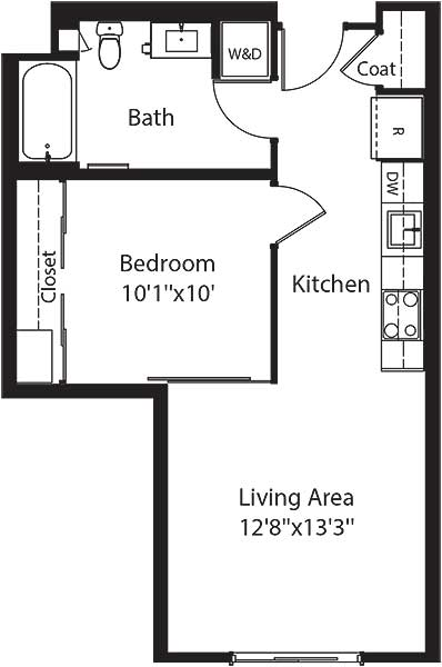 520 square foot one bedroom one bath apartment floorplan image