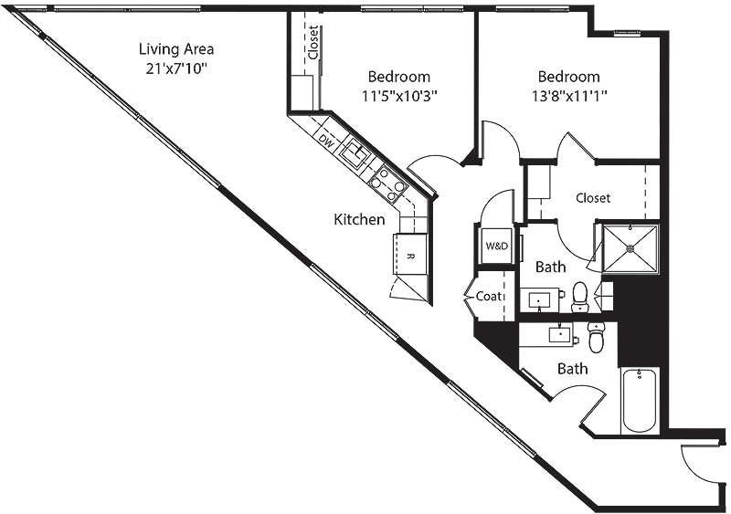 945 square foot two bedroom two bath apartment floorplan image