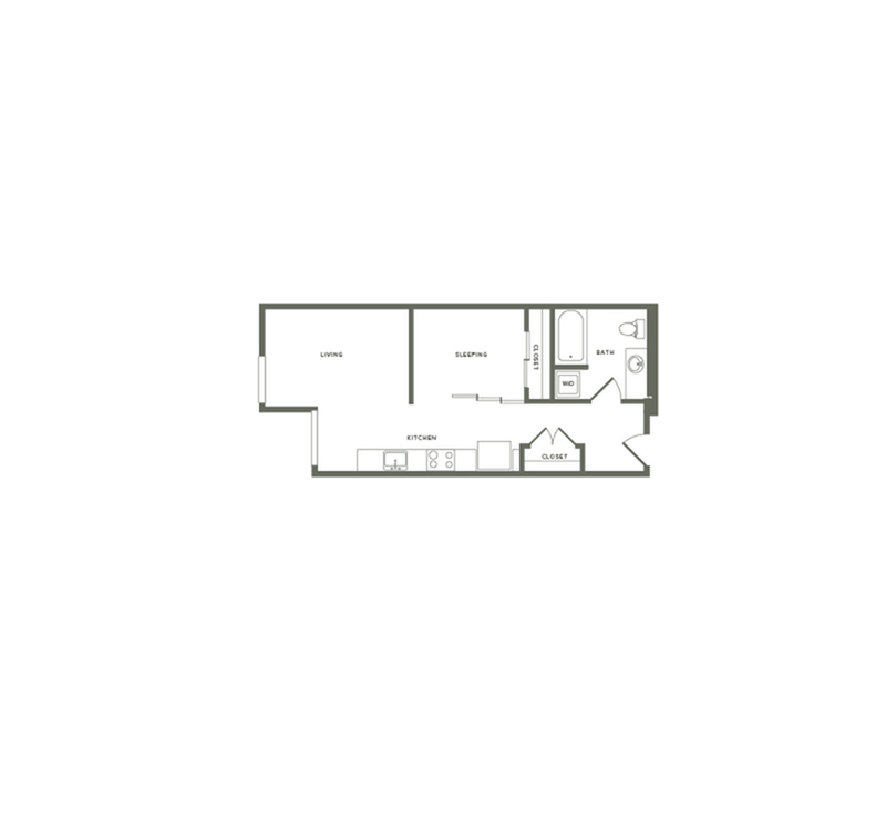 553-555 square foot one bedroom one bath floor plan image