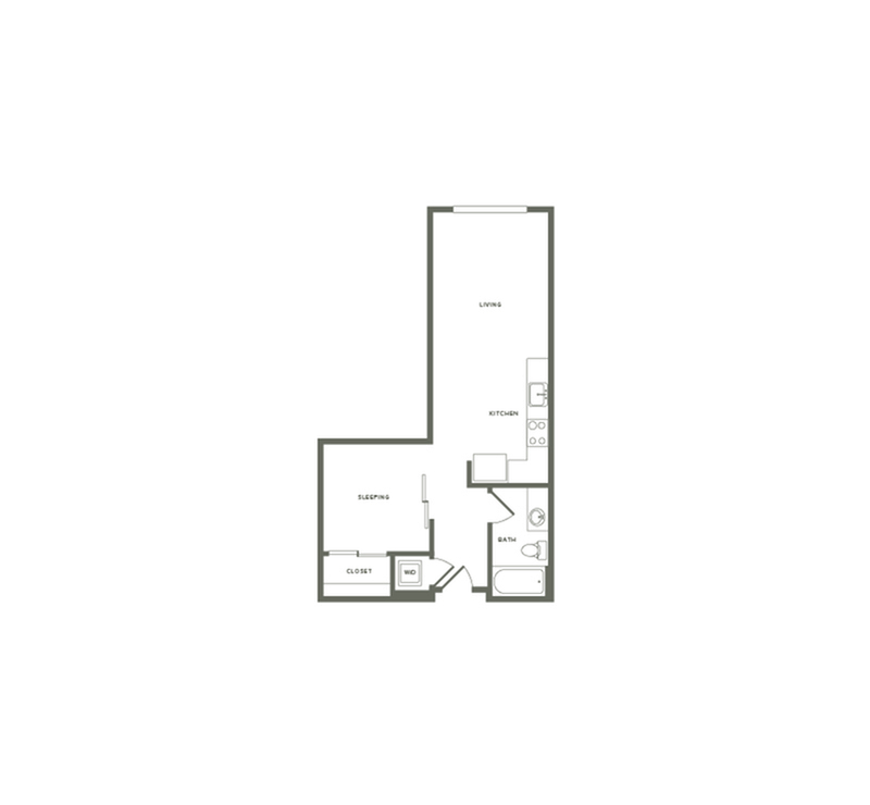 588-606 square foot one bedroom one bath floor plan image