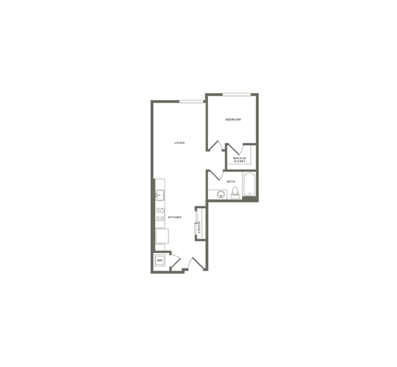 640 square foot one bedroom one bath floor plan image