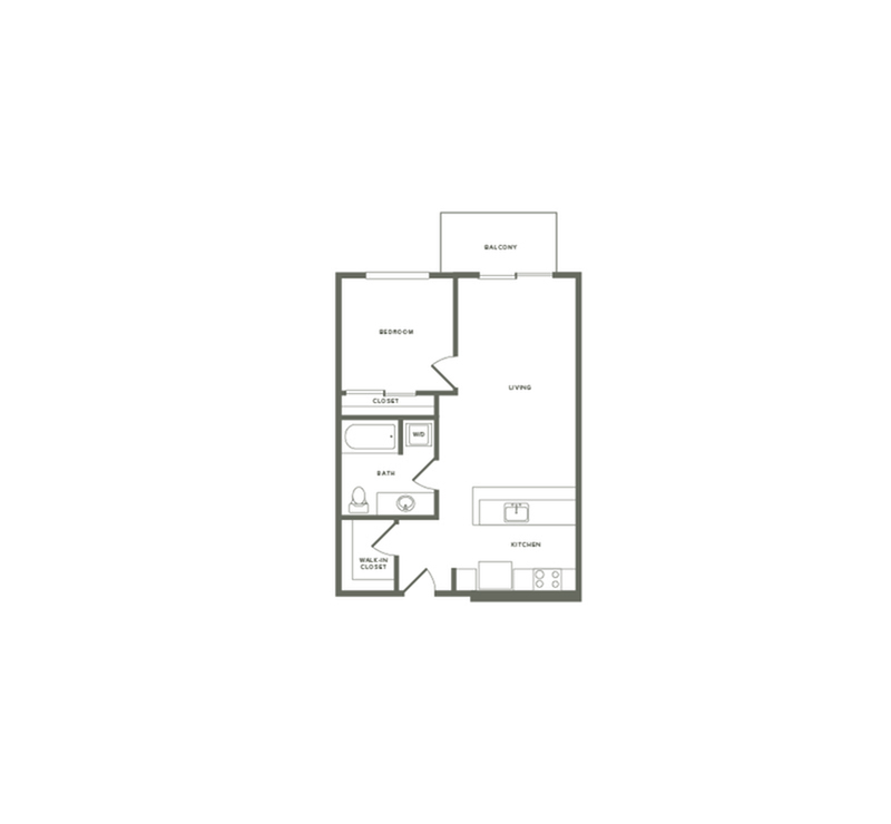 672 square foot one bedroom one bath floor plan image