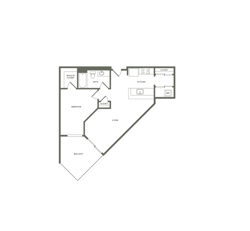667 square foot one bedroom one bath floor plan image