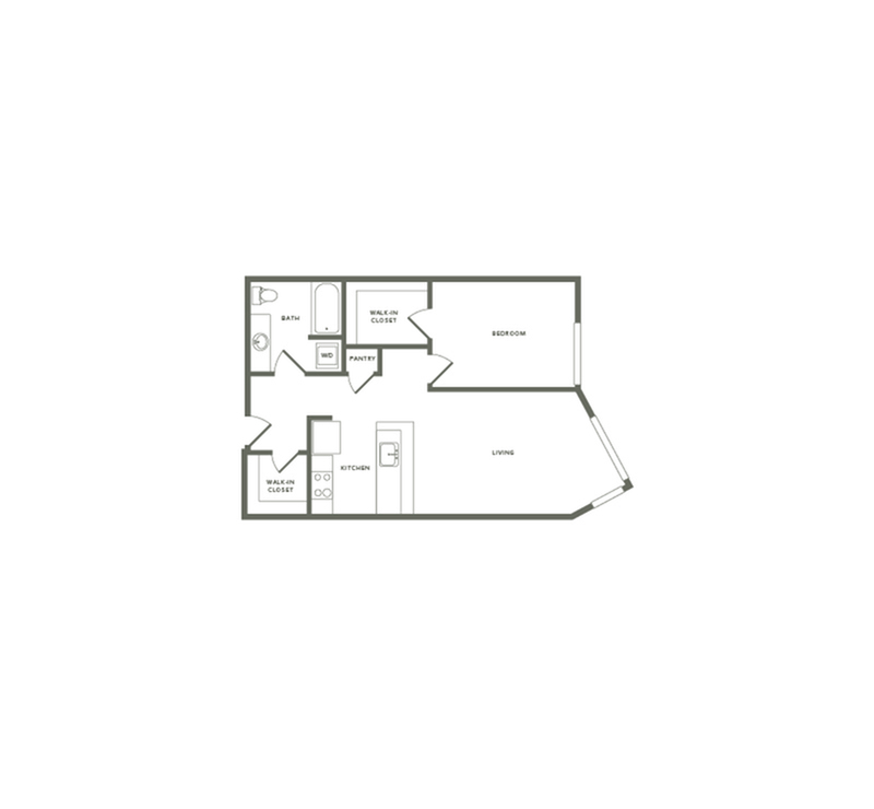 751 square foot one bedroom one bath floor plan image