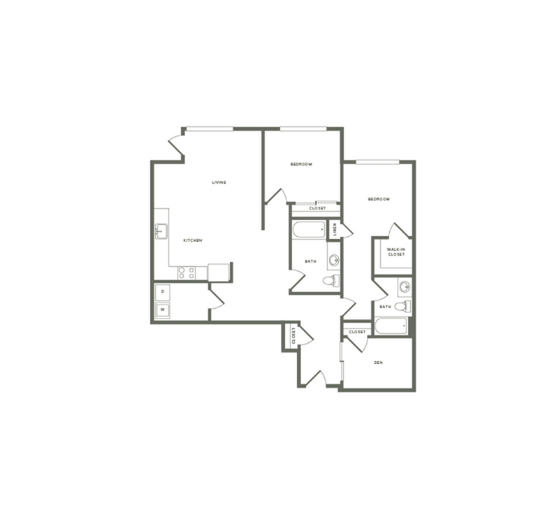1,233 square foot two bedroom two bath with den floor plan image