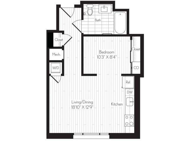 580 square foot one bedroom one bath floor plan image