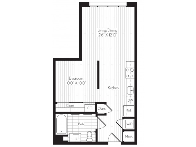 584 square foot one bedroom one bath floor plan image