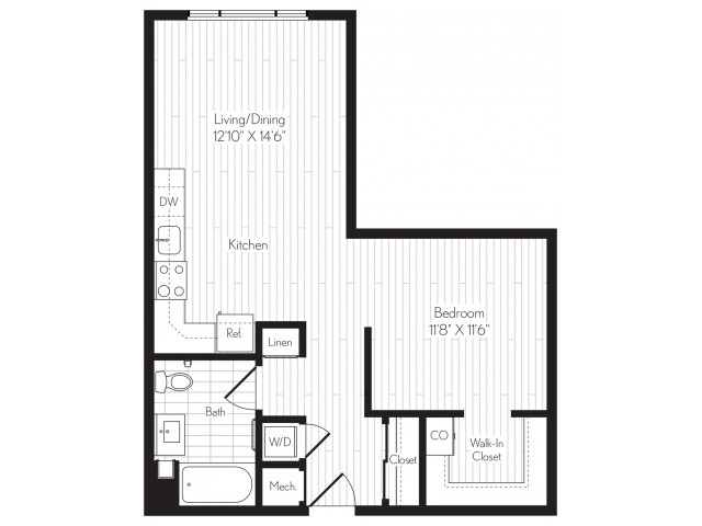 705 square foot one bedroom one bath floor plan image