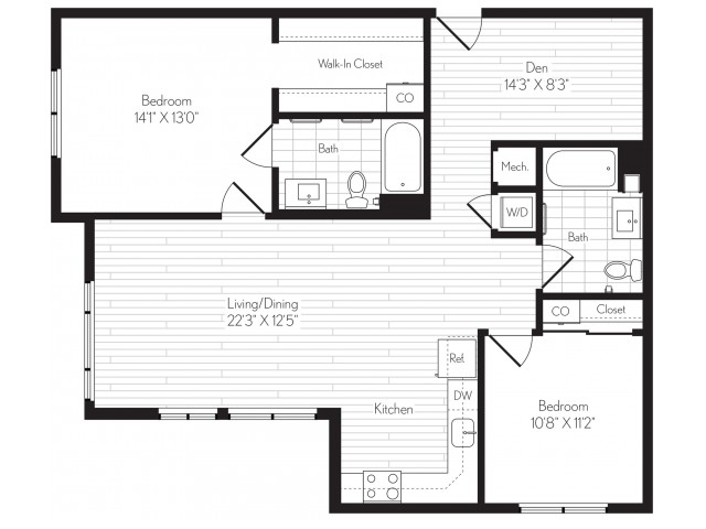 1176 square foot two bedroom two bath floor plan image