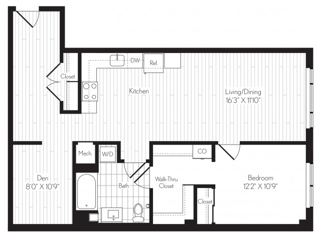 990 square foot one bedroom one bath floor plan image