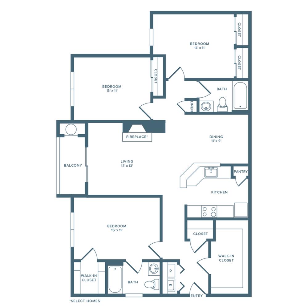 1421 square foot three bedroom two bath floorplan image