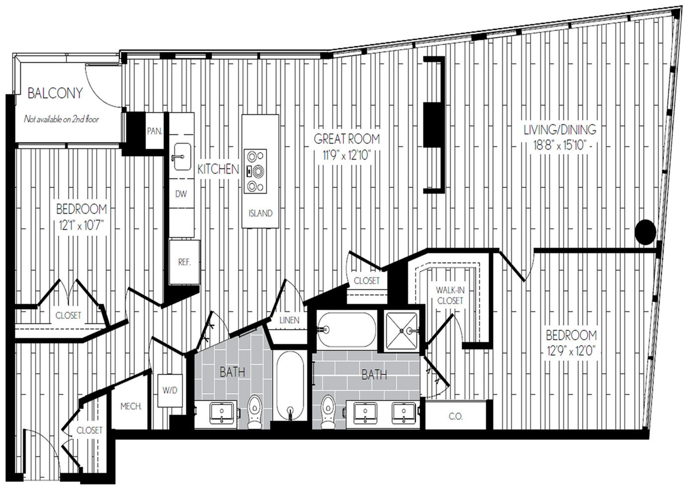 1391 square foot two bedroom two bath apartment floorplan image
