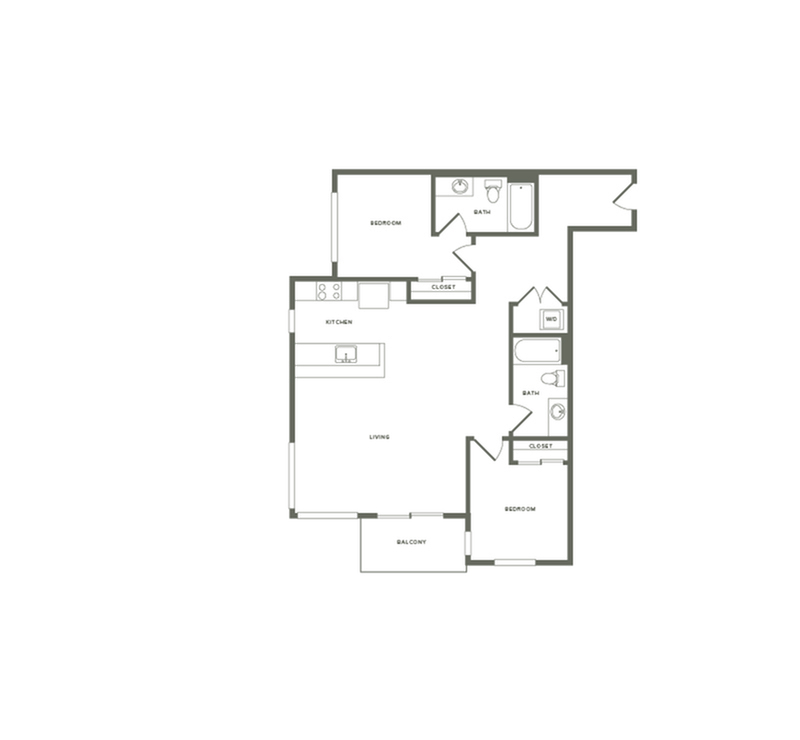 1,124-1,186 square foot two bedroom two bath floor plan image
