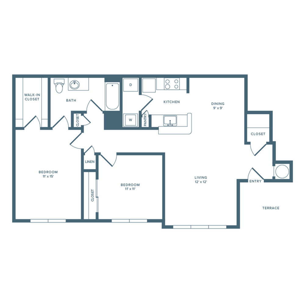 1118 square foot renovated two bedroom one bath floor plan image