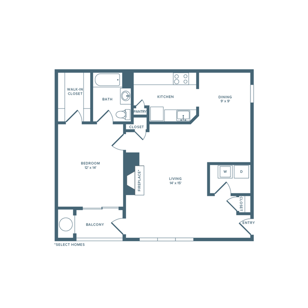 888 square foot renovated one bedroom one bath apartment floor plan