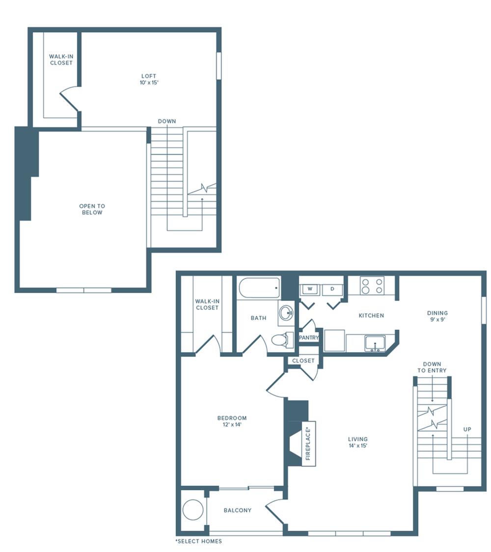 1142 square foot renovated one bedroom one bath loft floor plan image
