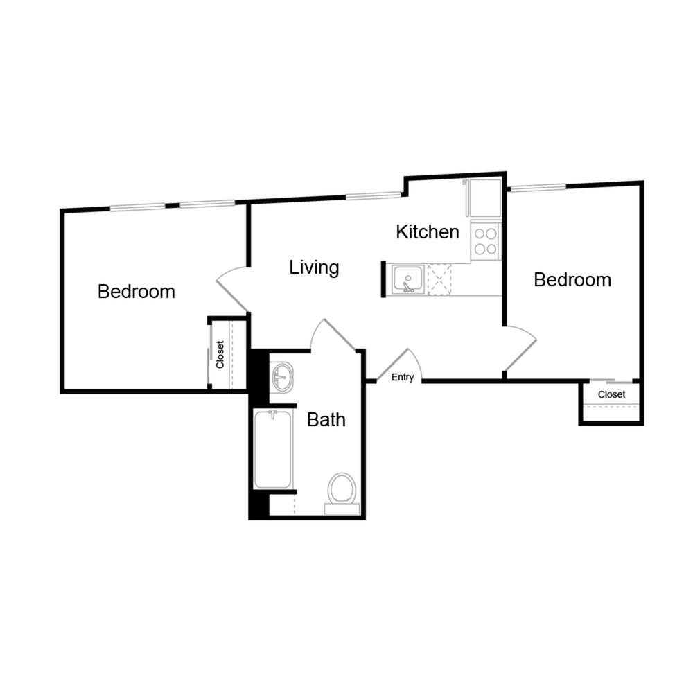 600 square foot two bedroom one bath floor plan image