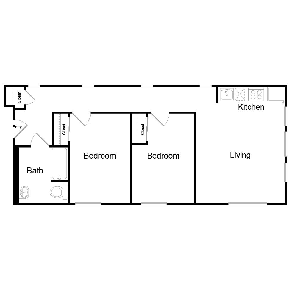 765 square foot two bedroom one bath floor plan image