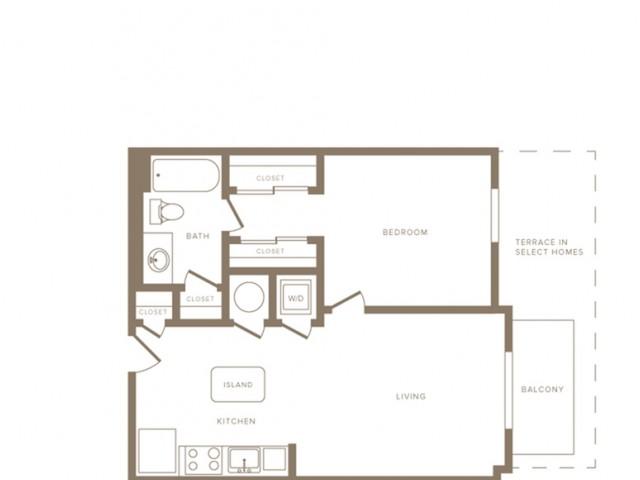 730 square foot one bedroom one bath phase II apartment floorplan image