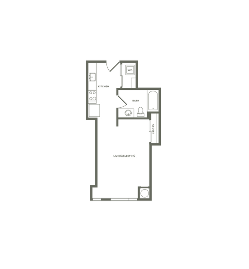 490 square foot studio one bath floor plan image with NO BALCONY