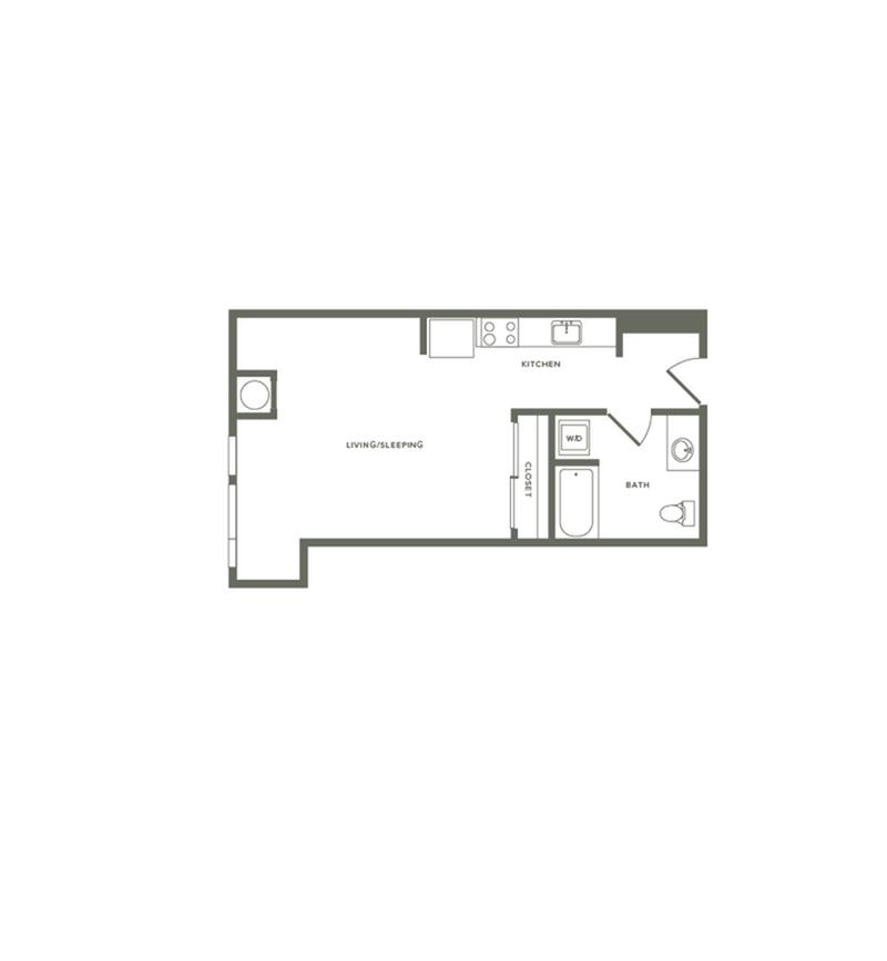 534 square foot studio one bath floor plan image