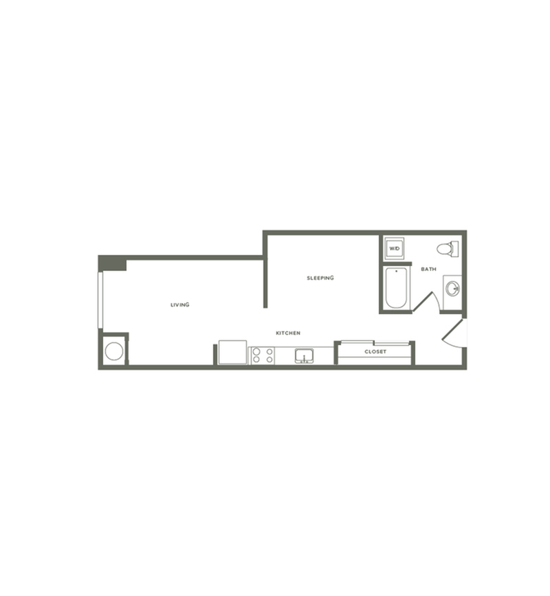 555 square foot one bedroom one bath floor plan image