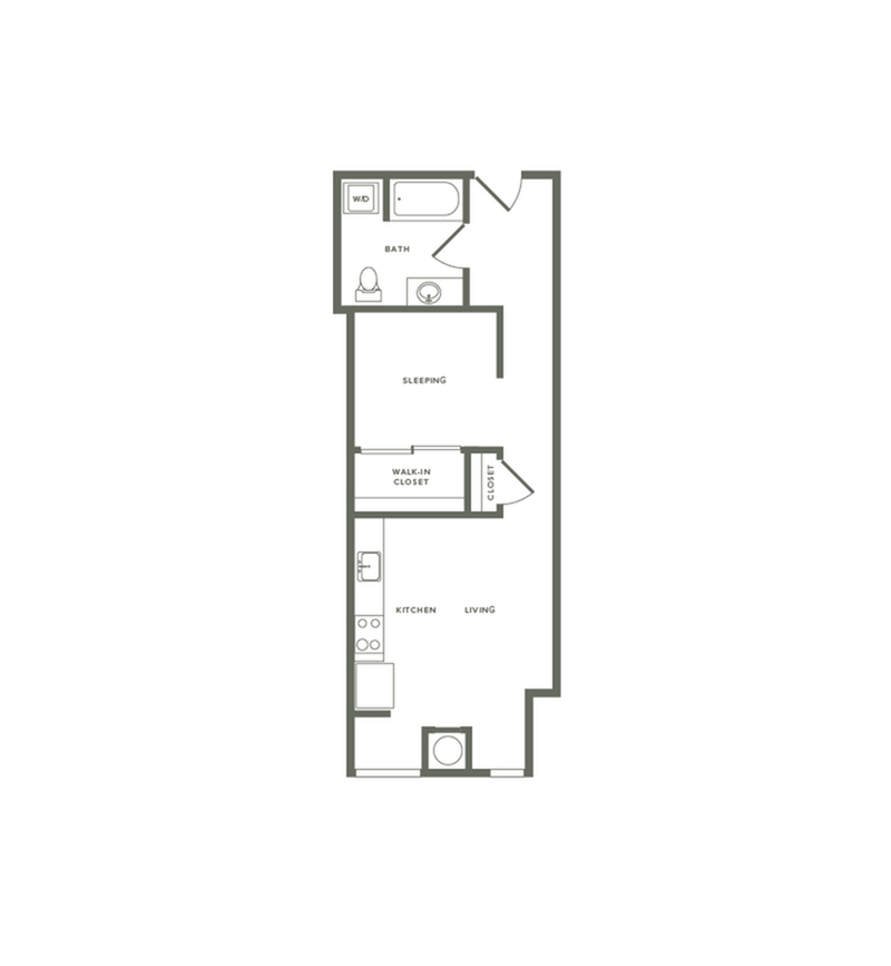 608 square foot one bedroom one bath floor plan image