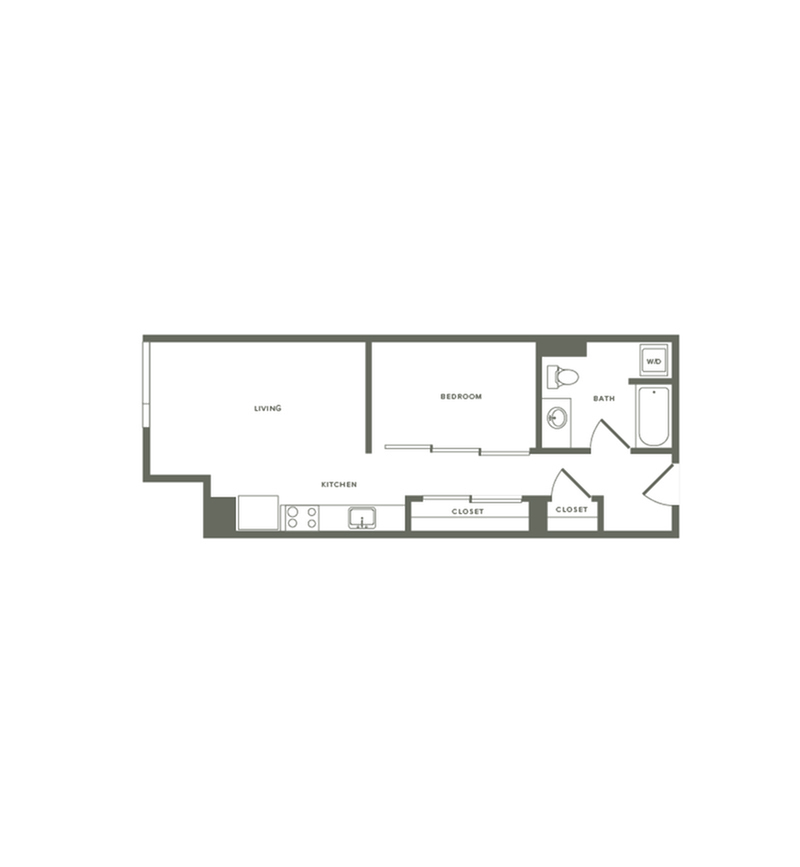607 square foot one bedroom one bath floor plan image