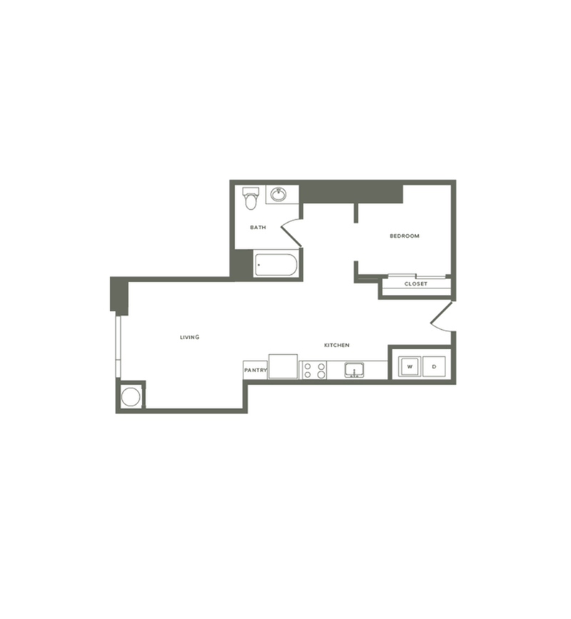 675 square foot one bedroom one bath floor plan image
