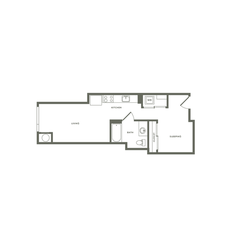583 square foot one bedroom one bath floor plan image