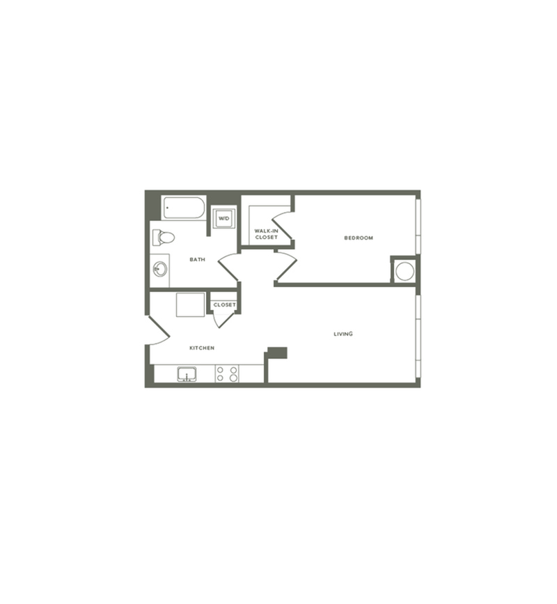 659 square foot one bedroom one bath floor plan image