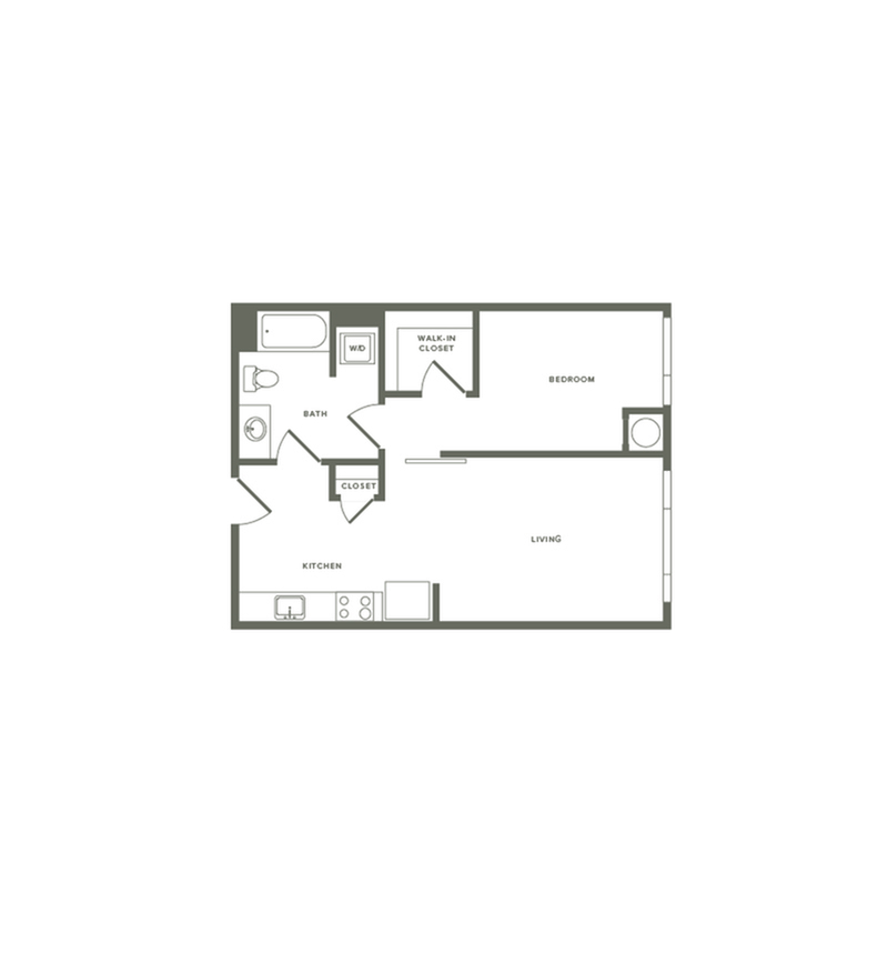 656 square foot one bedroom one bath floor plan image