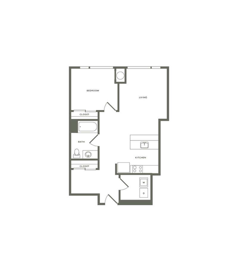 825 square foot one bedroom one bath floor plan image