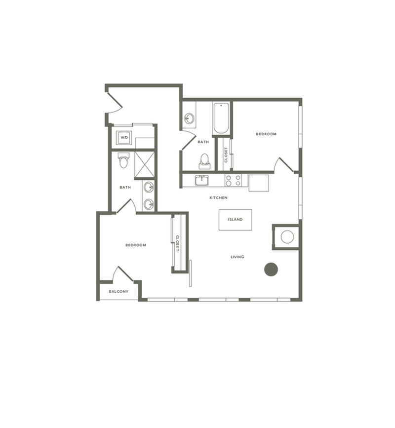 959 square foot two bedroom two bath floor plan image