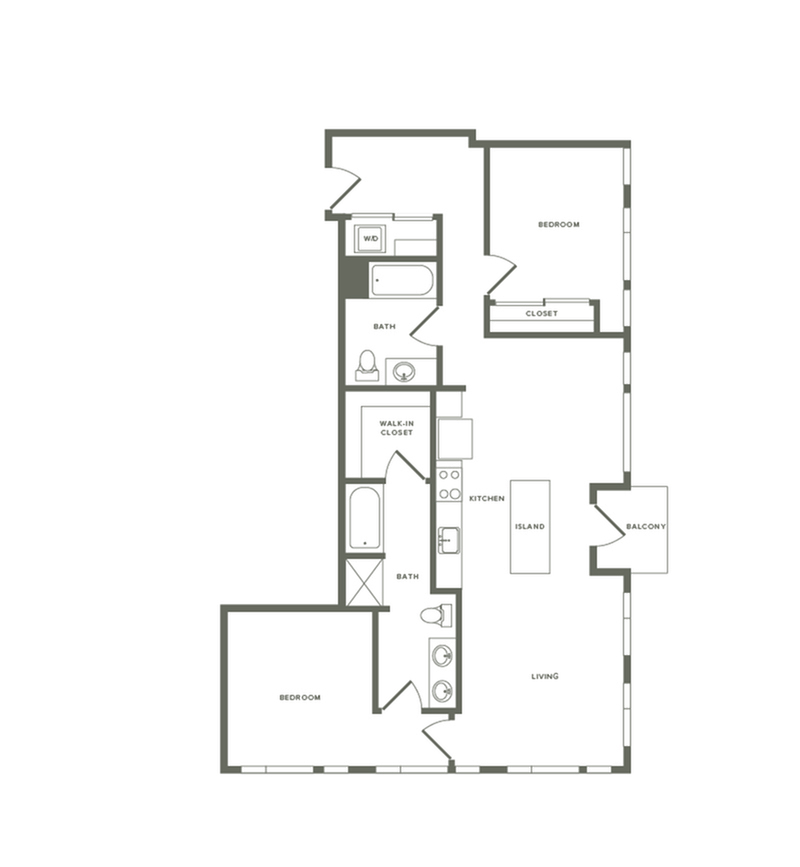 1,226 square foot two bedroom two bath floor plan image