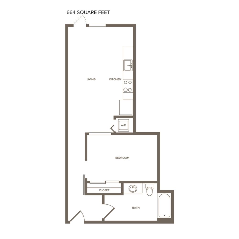 664 square foot one bedroom one bath floor plan image