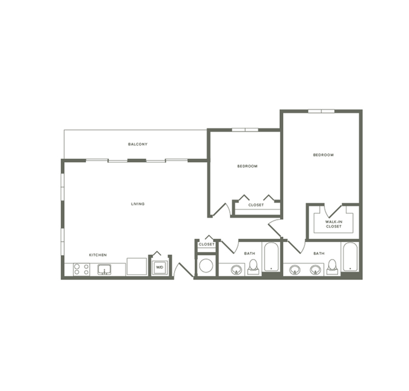 1139 square foot two bedroom two bath apartment floorplan image
