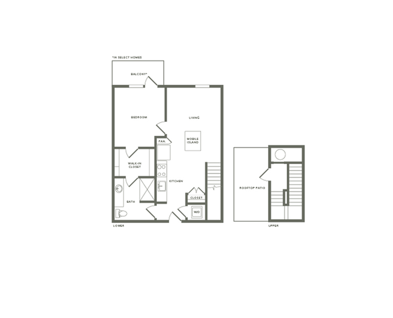 815 to 860 square foot one bedroom one bath with rooftop patio apartment floorplan image