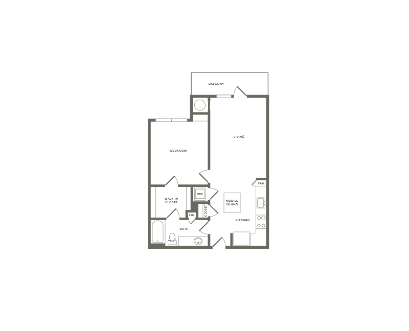 751 to 758 square foot one bedroom one bath apartment floorplan image