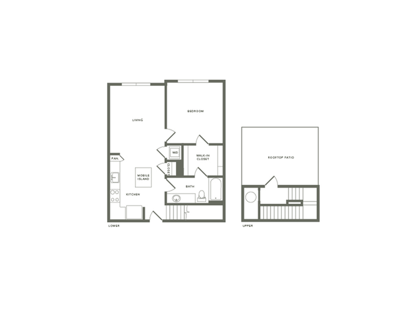 838 square foot one bedroom one bath with rooftop patio apartment floorplan image